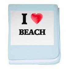 I Love Beach baby blanket