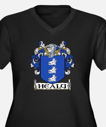 Healy Coat of Arms Women's Plus Size V-Neck Dark T