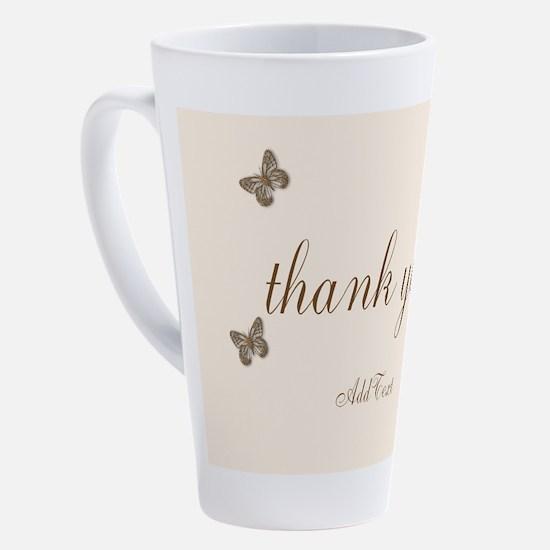 Pretty Thank You Cream Gold Butterflies 17 oz Latt