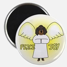 Peace Joy Black and Tan Coonhound Christmas Magnet