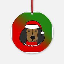 Cartoon Black and Tan Coonhound Christmas Ornament