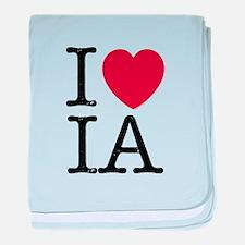 I Love IA Iowa baby blanket