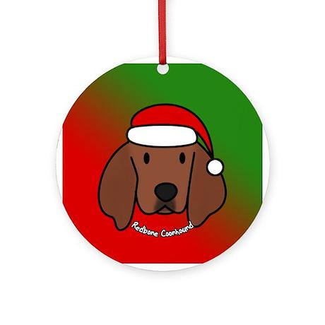 Cartoon Redbone Coonhound Christmas Ornament