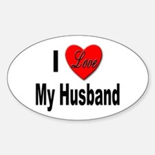 I Love My Husband Oval Decal