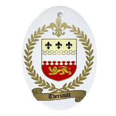 THERIAULT Family Crest Oval Ornament