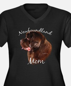 Newfie Mom2 Women's Plus Size V-Neck Dark T-Shirt