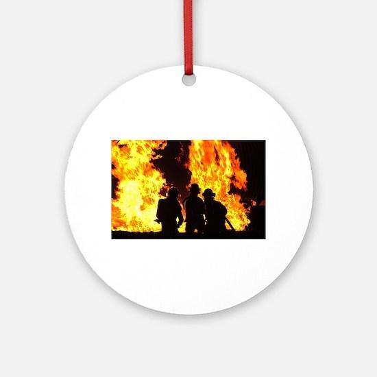 Three firemen Round Ornament