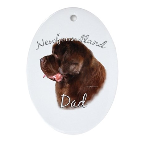 Newfie Dad2 Oval Ornament