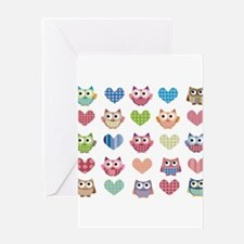 Owls hearts multi color Greeting Cards