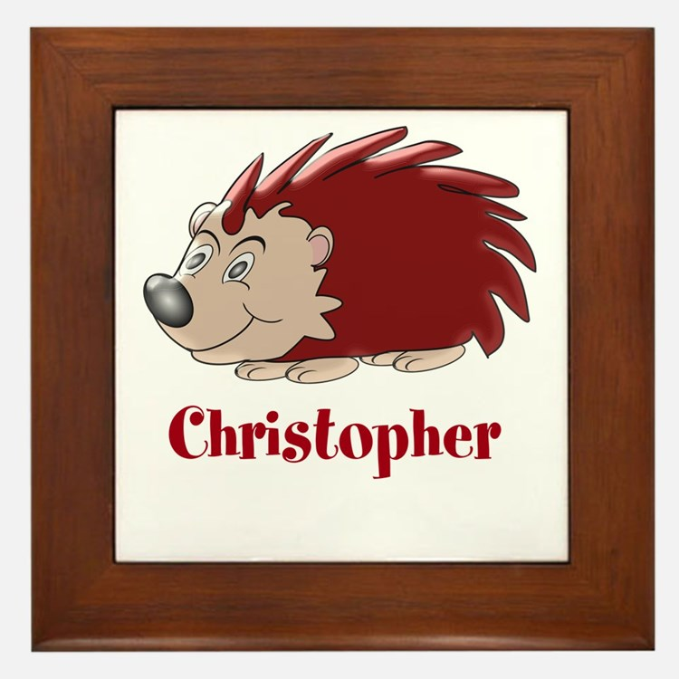 Personalized Hedgehog Framed Tile
