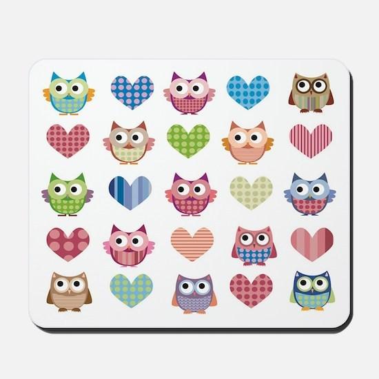 Owls hearts multi color Mousepad