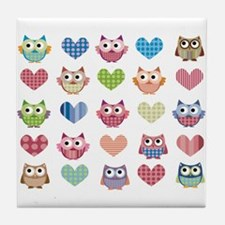 Owls hearts multi color Tile Coaster