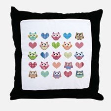 Owls hearts multi color Throw Pillow
