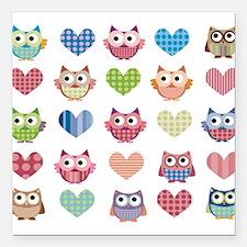 "Owls hearts multi color Square Car Magnet 3"" x 3"""
