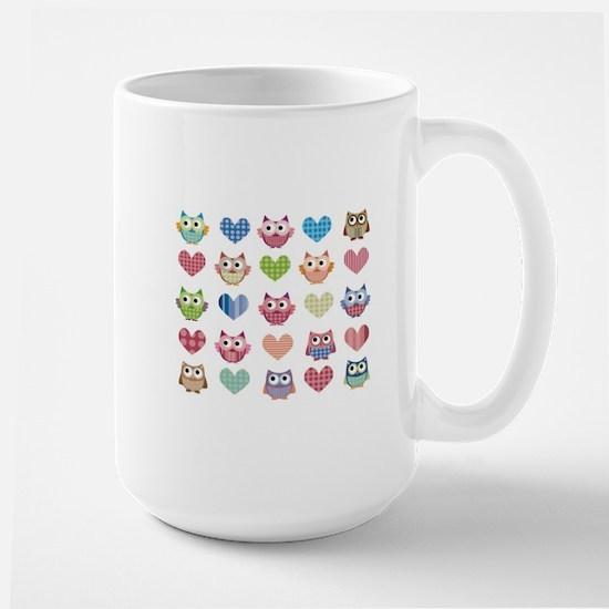Owls hearts multi color Mugs