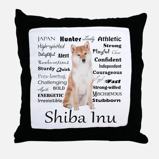 Shiba Inu Traits Throw Pillow
