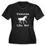Unicorns Lik Women's Plus Size V-Neck Dark T-Shirt