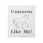 Unicorns Like Me Throw Blanket