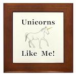 Unicorns Like Me Framed Tile