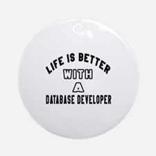 Database Developer Designs Round Ornament
