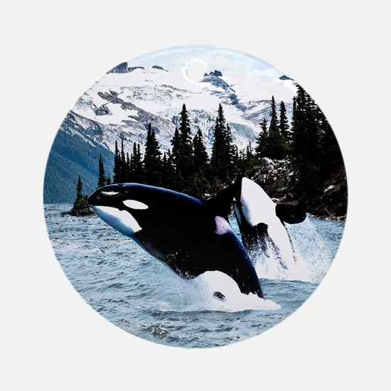 Unique Killer whales Round Ornament