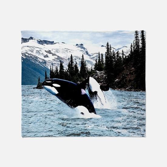 Funny Orca Throw Blanket