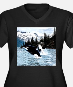 Leaping Killer Whales Plus Size T-Shirt