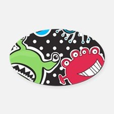 Cute Monsters Oval Car Magnet