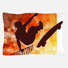 Skateboarder in Air Yellow and Orange Pillow Case