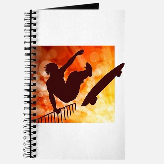 Skateboarder in Air Yellow and Orange Bokk Journal