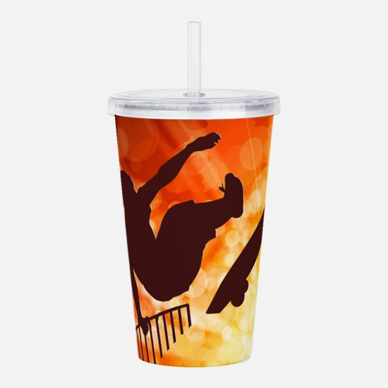 Skateboarder in Air Ye Acrylic Double-wall Tumbler