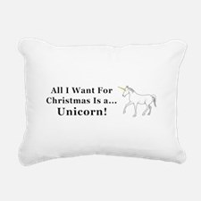 Christmas Unicorn Rectangular Canvas Pillow