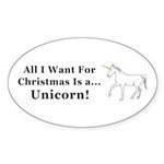 Christmas Unicorn Sticker (Oval 50 pk)