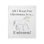 Christmas Unicorn Throw Blanket