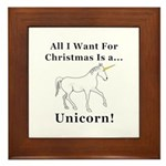 Christmas Unicorn Framed Tile