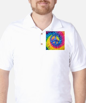 Peace Sign Hippie Hippy Psychedelic Tie Golf Shirt