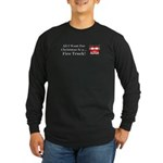 Christmas Fire Truck Long Sleeve Dark T-Shirt