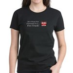 Christmas Fire Truck Women's Dark T-Shirt