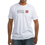 Christmas Fire Truck Fitted T-Shirt