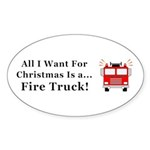 Christmas Fire Truck Sticker (Oval 50 pk)