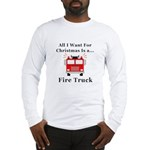 Christmas Fire Truck Long Sleeve T-Shirt
