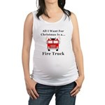 Christmas Fire Truck Maternity Tank Top