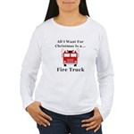 Christmas Fire Truck Women's Long Sleeve T-Shirt