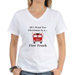 Christmas Fire Truck Women's V-Neck T-Shirt