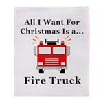 Christmas Fire Truck Throw Blanket