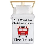 Christmas Fire Truck Twin Duvet