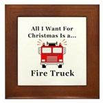 Christmas Fire Truck Framed Tile