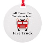 Christmas Fire Truck Round Ornament