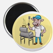 Cow Barbecue Chef Smoker Oval Cartoon Magnets