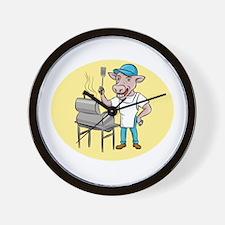 Cow Barbecue Chef Smoker Oval Cartoon Wall Clock